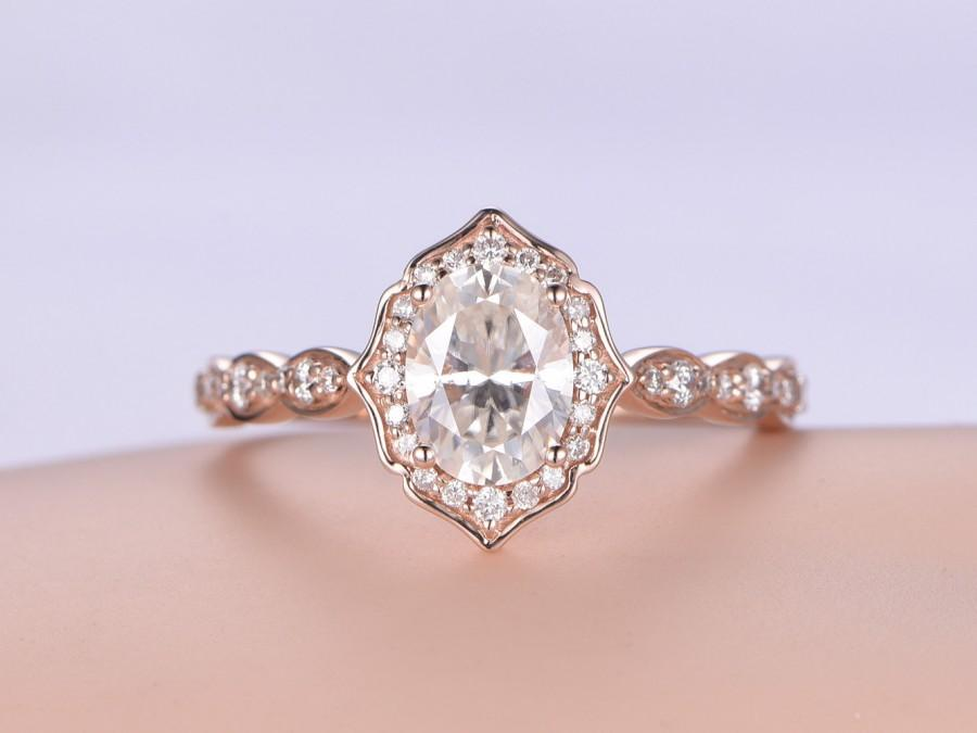 Свадьба - 6x8mm Oval Cut Moissanite Engagement Ring,14K rose Gold Natural Diamond Ring,Bridal Wedding Band,promise,anniversary ring,Deco halo