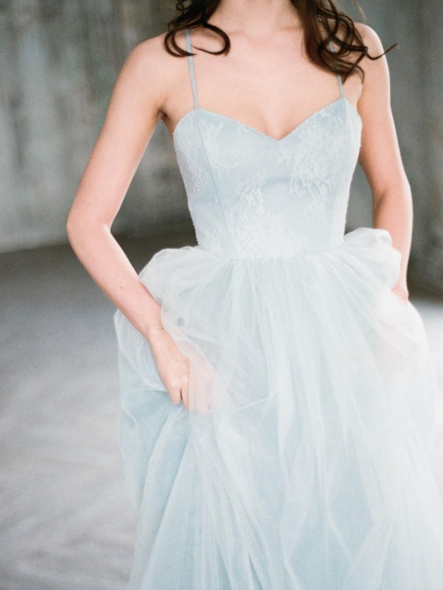 Свадьба - Tara - gray blue colored unique wedding dress, a-line open back tulle wedding gown with boned corset, sweetheart neckline, lace dress