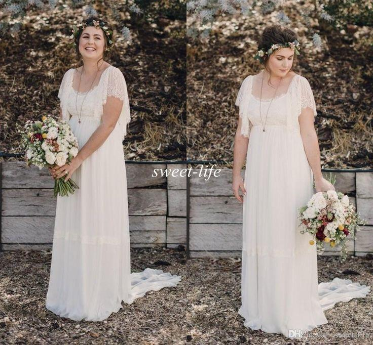 Свадьба - 2015 Ivory Bohemian Wedding Dresses Plus Size Maternity Lace Short Sleeves Cheap Scoop Open Back Country Spring Wedding Bridal Wedding Gowns