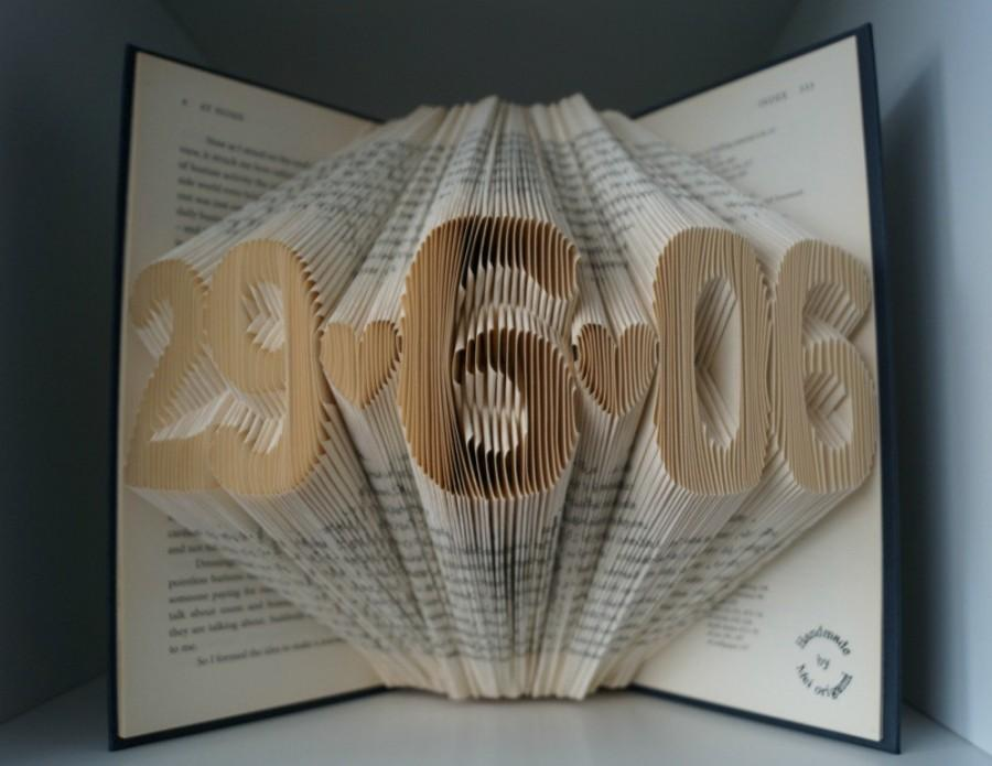 Paper Anniversary Gifts For Him Part - 37: Paper Anniversary Gift For Him-5 Numbers Folded Book Art -made To Order-sale