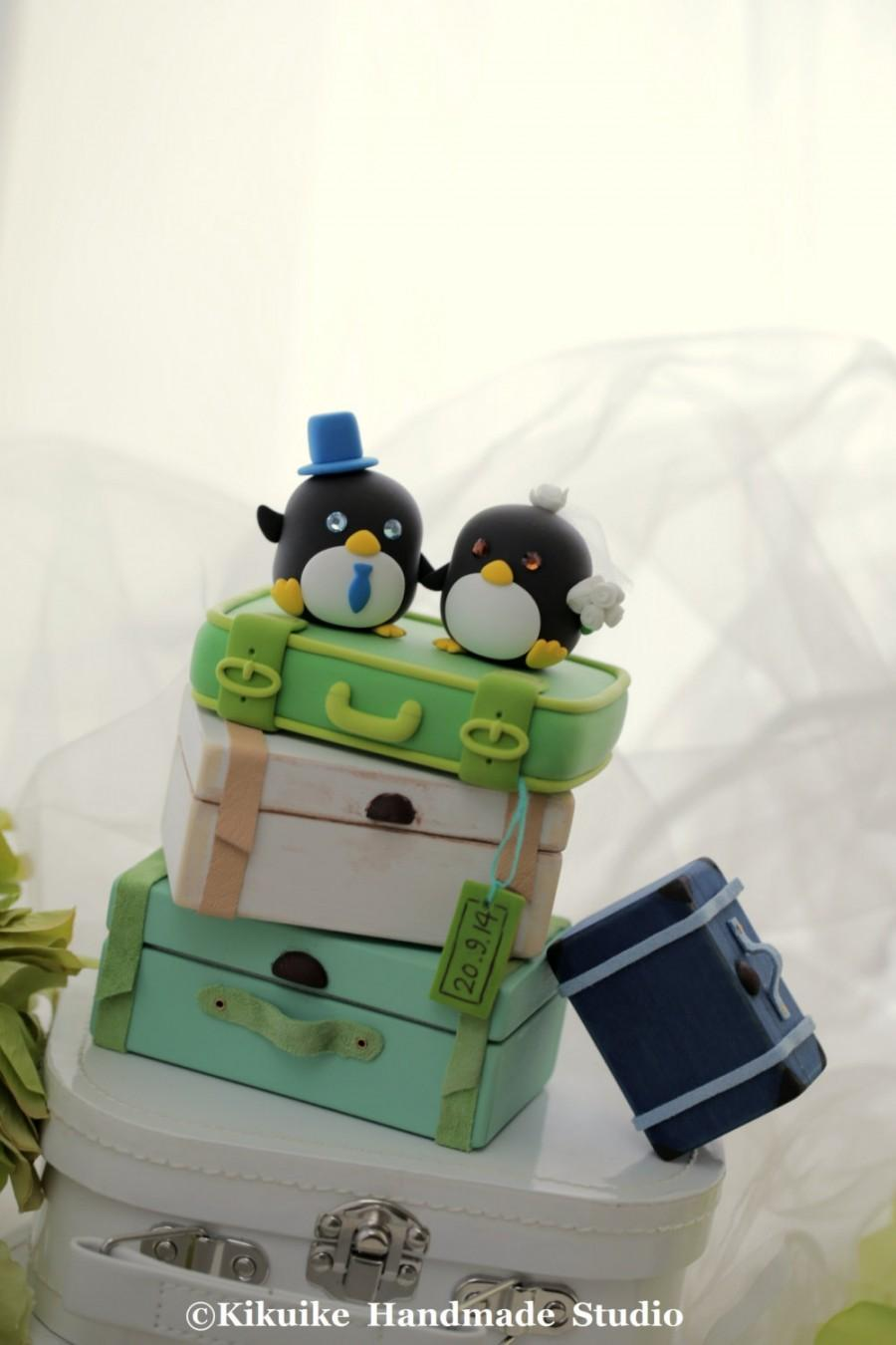 Свадьба - penguin with luggage base (only for 1 clay luggage (K447)