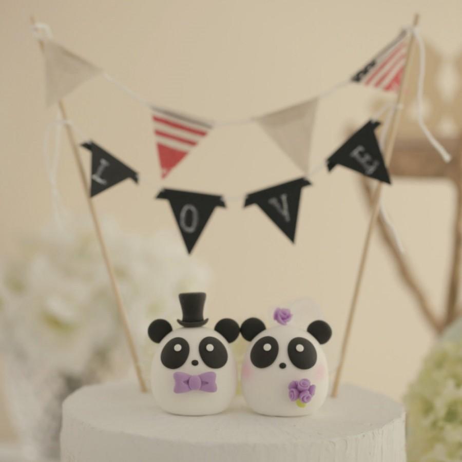 Свадьба - Panda wedding cake topper