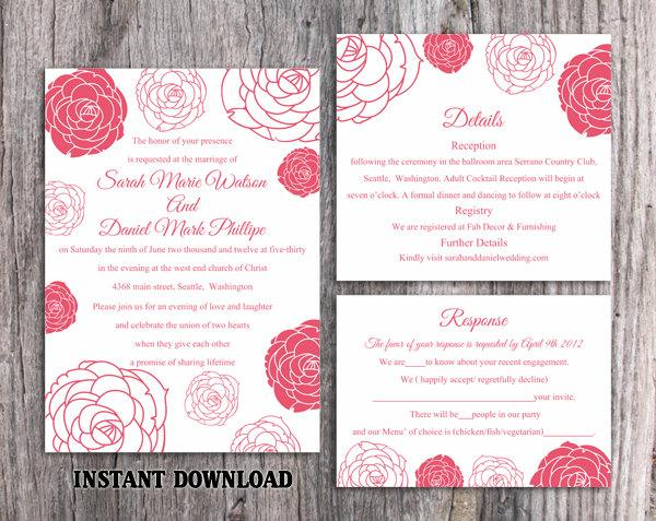 Свадьба - Wedding Invitation Template Download Printable Wedding Invitation Editable Hot Pink Invitations Floral Invitation Rose Wedding Invitation - $15.90 USD