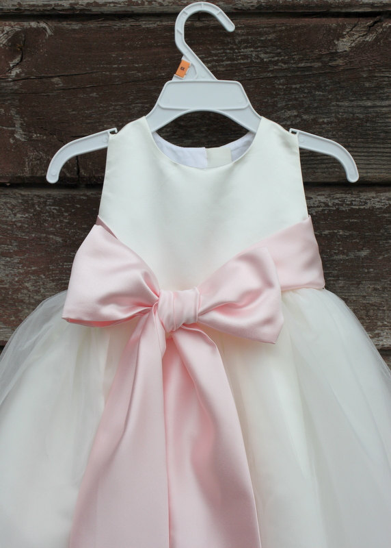 Свадьба - Ivory Flower Girl dress bow sash pageant pastel pink wedding bridal children bridesmaid toddler elegant