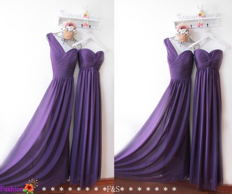 Свадьба - Purple Bridesmaid Dresses,Strapless Pleat Bodice prom Dresses,Junior Bridesmaid Dresses,One Shoulder Ruched Bridesmaid Dress,