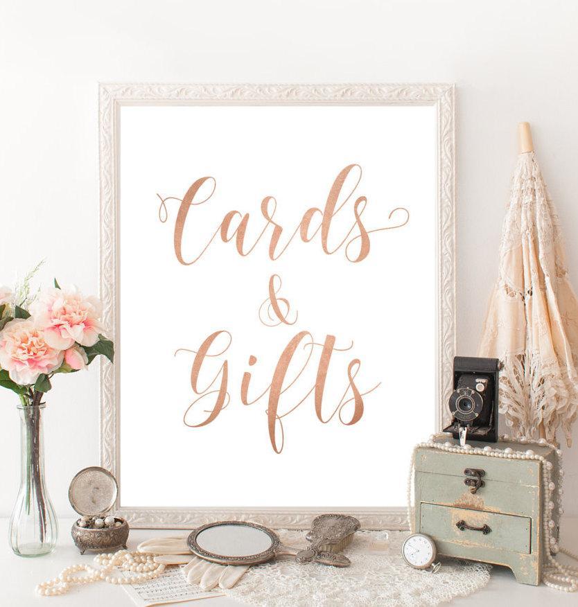 Свадьба - Rose gold wedding decor Cards and gifts sign Printable wedding decorations DIY Ethereal wedding calligraphy Rose gold bridal shower decor