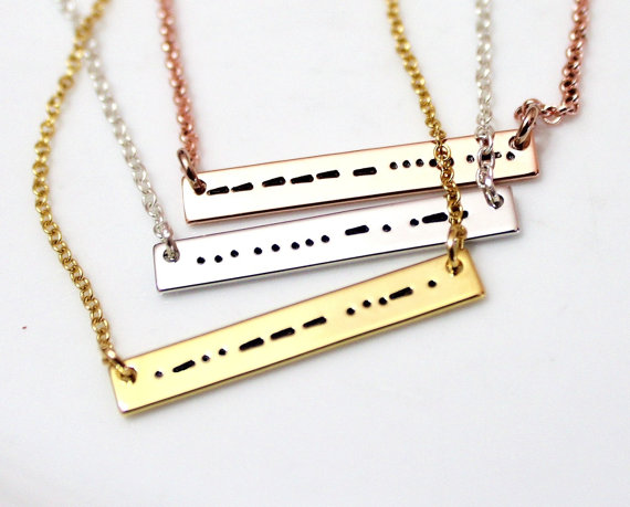 Wedding - Morse Code Sister, Morse Code Love Necklace, Morse Code Jewelry. Silver Bar Necklace, BFF Necklace, Morse Code Mama Gift, Bridesmaid Gift