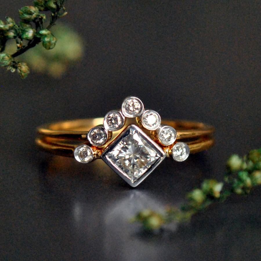 Wedding Ring Set 3 Stone Ring 14k Gold Princess Cut Diamond