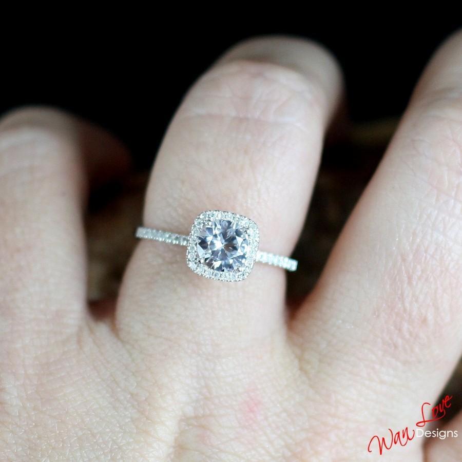 Mariage - White Topaz & Diamond Cushion Halo Round Engagement Ring 1ct 6mm 14k 18k White Yellow Rose Gold-Platinum-Custom made-Wedding-Anniversary-10k