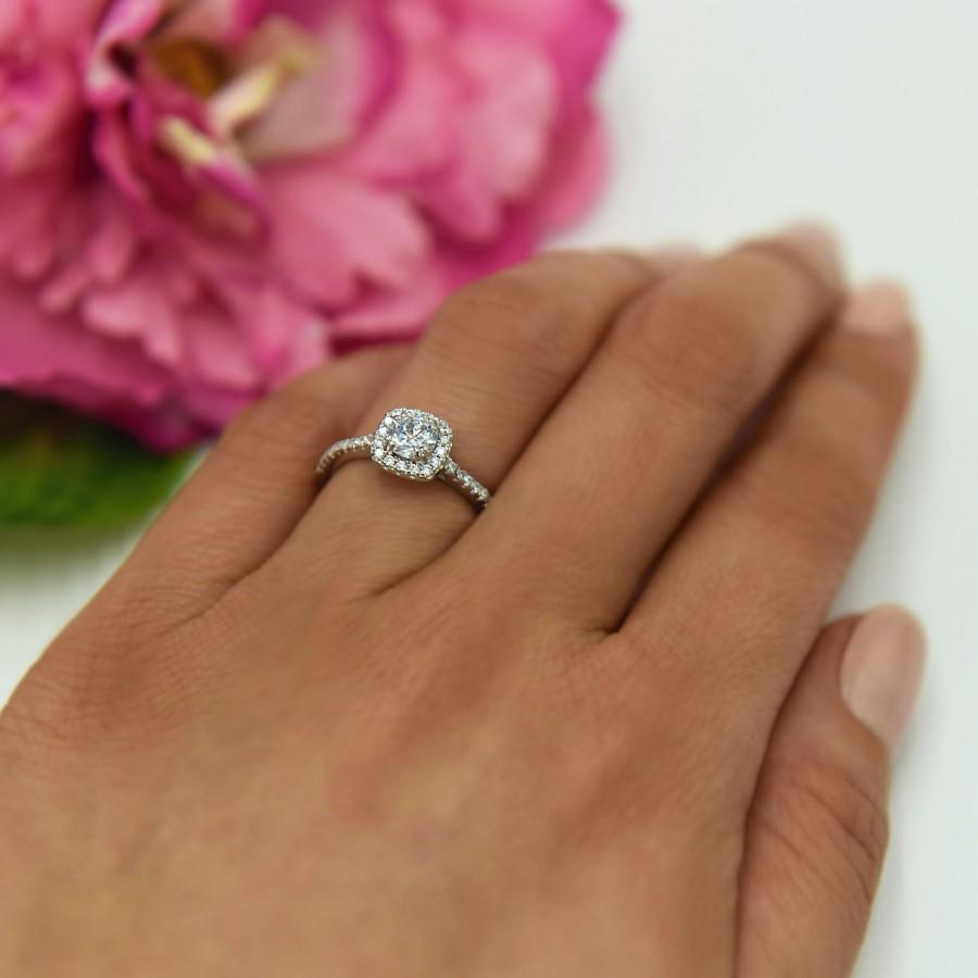 زفاف - New 3/4 ctw Classic Square Halo Engagement Ring, Man Made Diamond Simulant, Half Eternity Ring, Halo Ring, Promise Ring, Sterling Silver