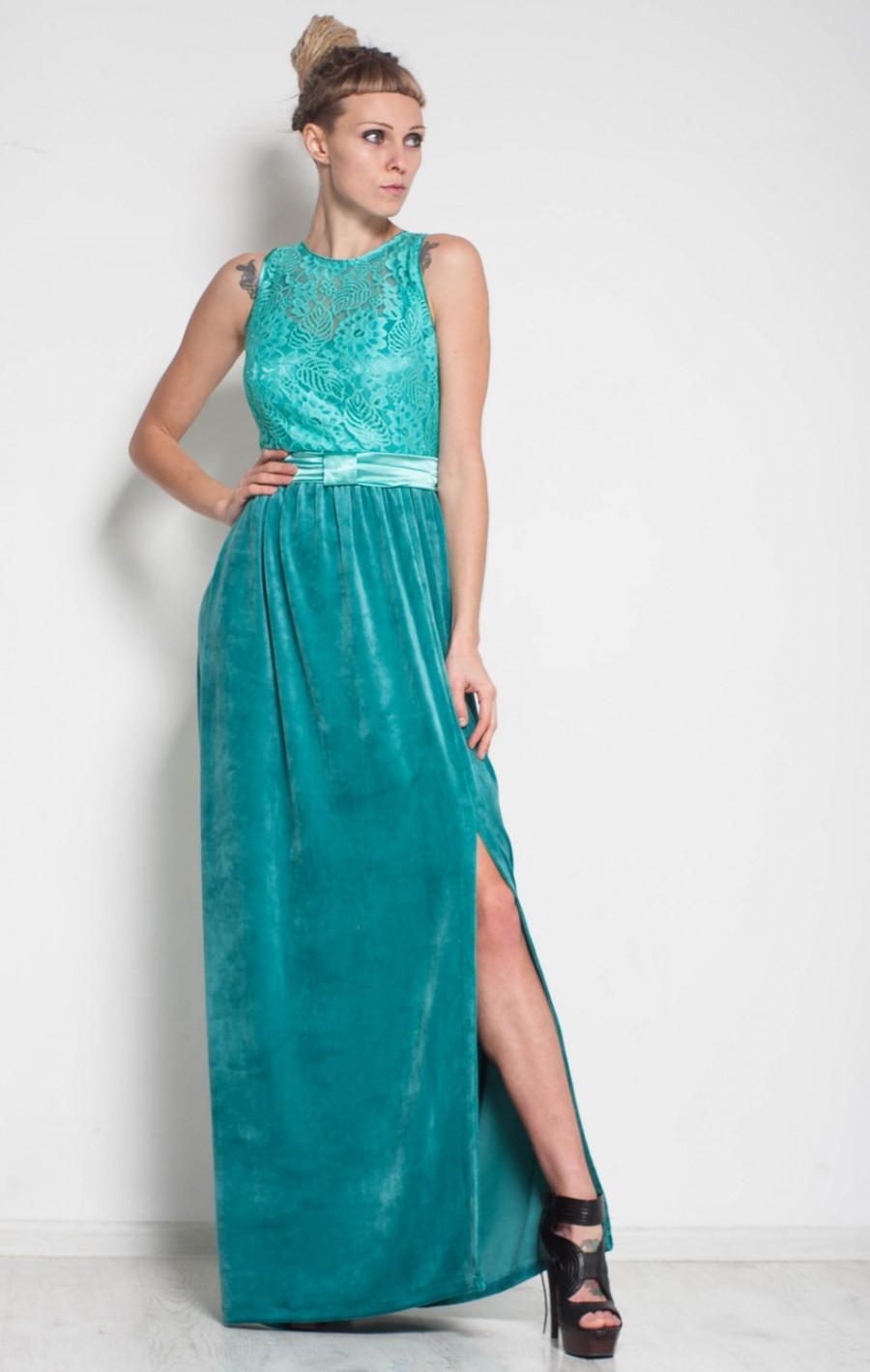 Свадьба - Mint prom dress Maxi formal dress evening velvet split dress cocktail lace floor dress bridesmaid sleeveless guipure dress mint prom dress