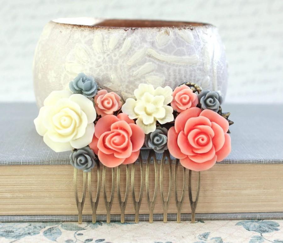 Свадьба - Bridesmaids Gift Bridal Hair Comb Coral and Grey Wedding Flower Hair Comb Hair Accessories Peach Rose Hair Comb Spring Floral Headpiece