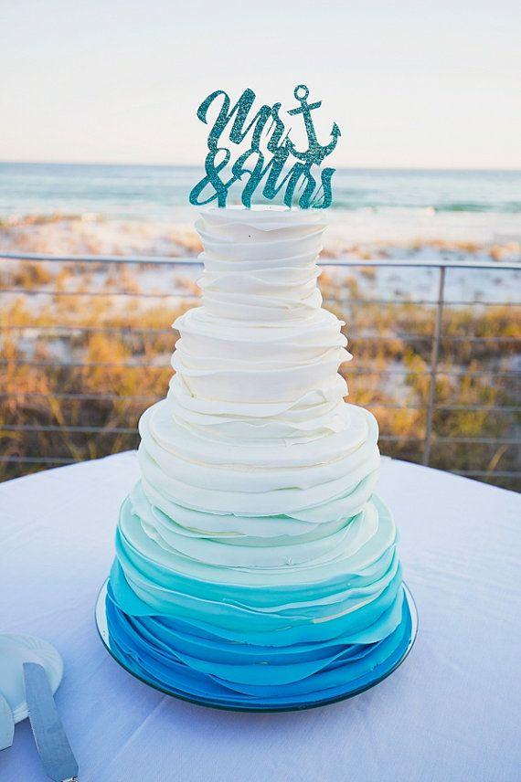 Nautical Cake Topper Mr & Mrs Wedding Cake Topper In Glitter Anchor ...