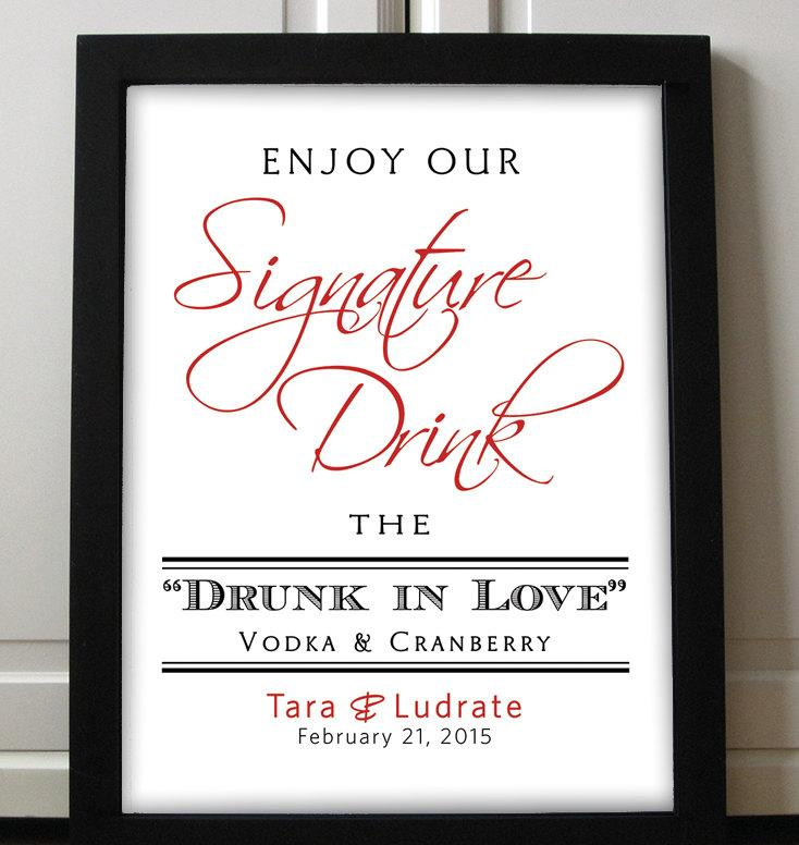 Свадьба - Signature Drink Sign Wedding Printable