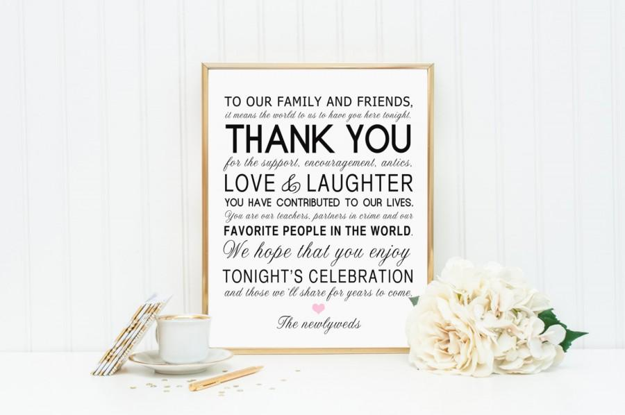 Свадьба - 8 x 10 Printed Thank You Wedding Reception Sign for Family and Friends - Personalized Customized Wedding Table Sign