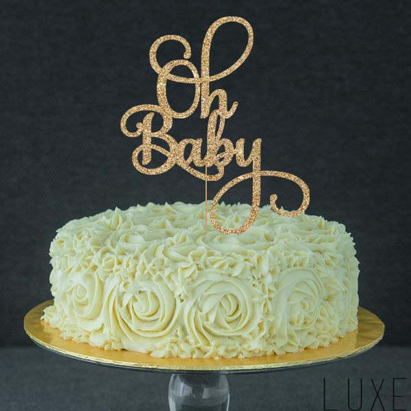 Wedding - Oh Baby Cake Topper for Baby Shower, Gender Reveal Party, Birthday Party - Gold Glitter Cupcake and Cake Topper