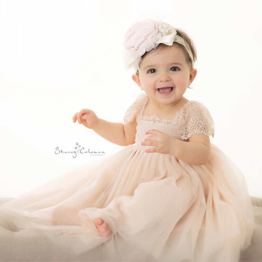 Wedding - RUE DEL SOL blush flower girl dress French lace and silk tulle dress for baby girl blush princess dress