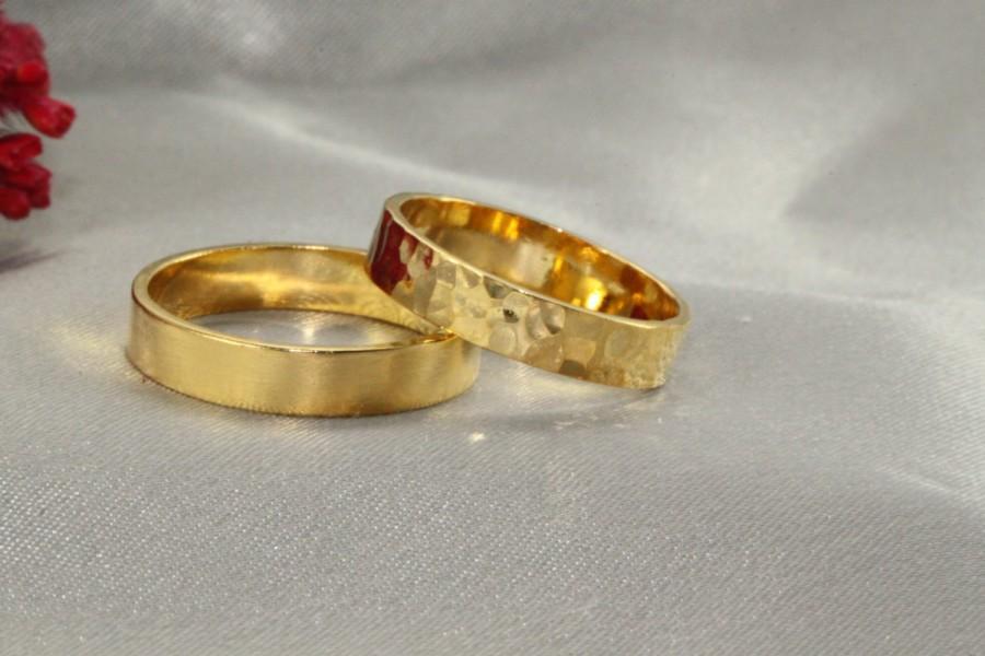 Hammered Wedding Band 14k Gold Set Set Of Wedding Band For Women