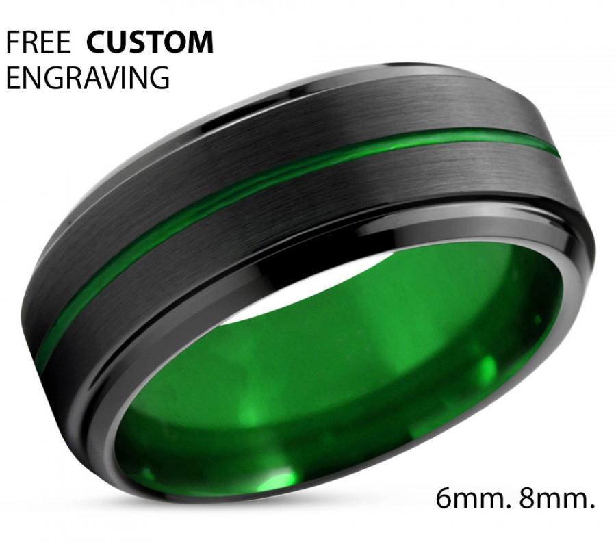 Wedding - Tungsten Ring Mens Black Green Wedding Band Tungsten Ring Tungsten Carbide 8mm Brushed Man Wedding Male Women Anniversary Matching
