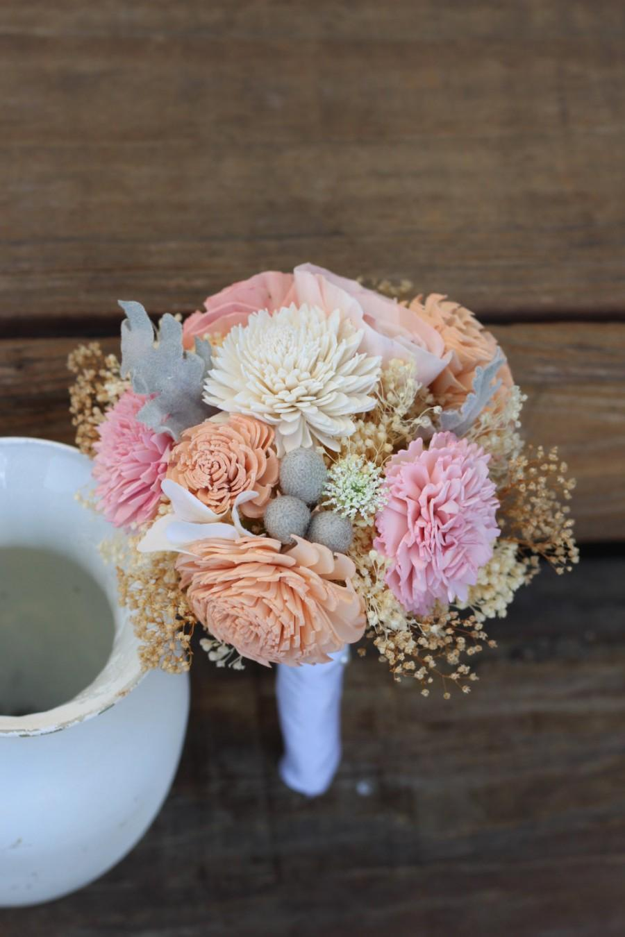 Mariage - Pink Peach bouquet, wedding bouquet, bridal bouquet, bridesmaid bouquet, alternative bouquet