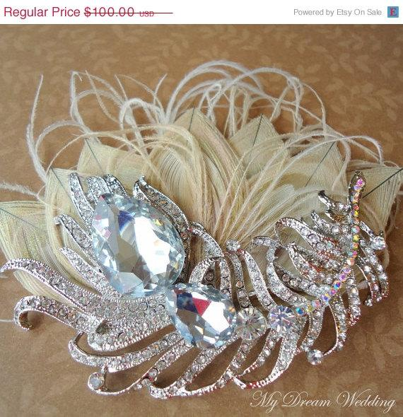 Mariage - ON SALE Ivory Peacock Headpiece-. Embellished with Original AUSTRALIAN Peacock Crystal. Wedding, Bridesmaids - Peacock Crystals Collection-