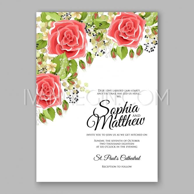 Pink red rose floral wedding invitation printable gold bridal shower pink red rose floral wedding invitation printable gold bridal shower invitation suite boho flower unique vector illustrations christmas cards stopboris Choice Image