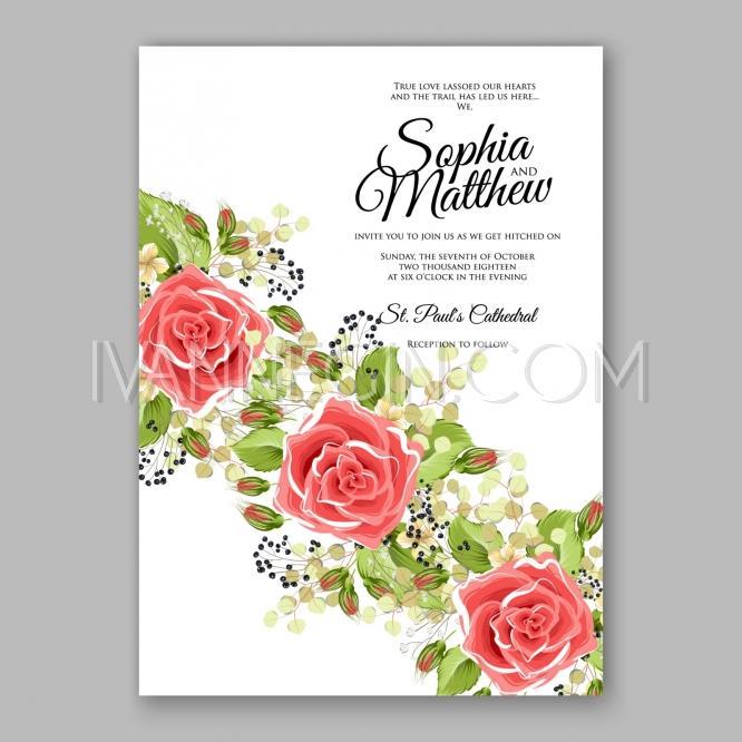 Pink Red Rose Floral Wedding Invitation Printable Gold