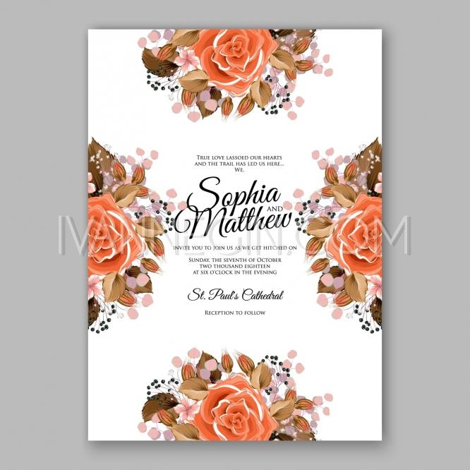 orange red rose floral wedding invitation printable gold