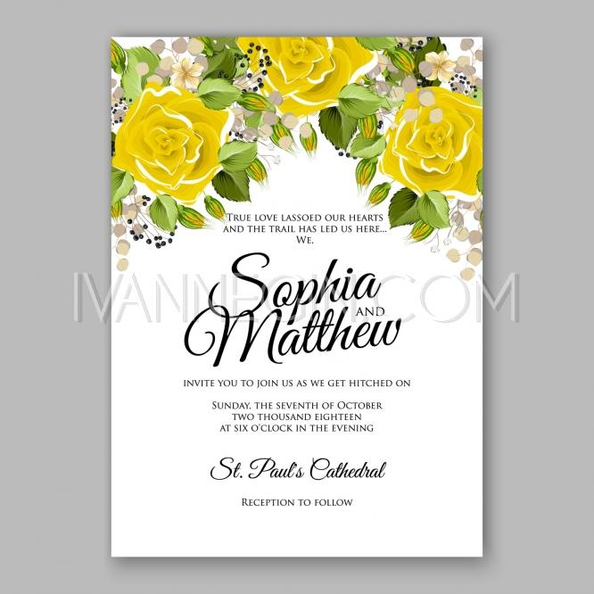 Yellow rose floral wedding invitation printable gold for Yellow bridal shower invitations