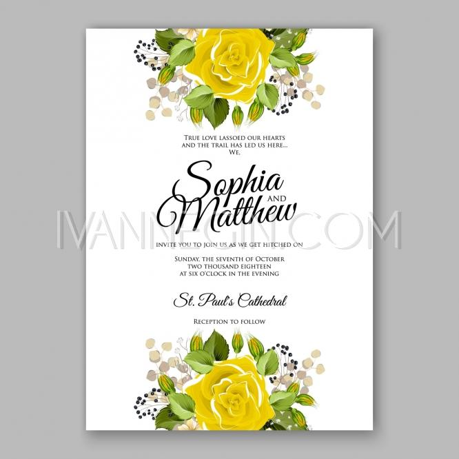 Yellow Rose Floral Wedding Invitation Printable Gold Bridal Shower
