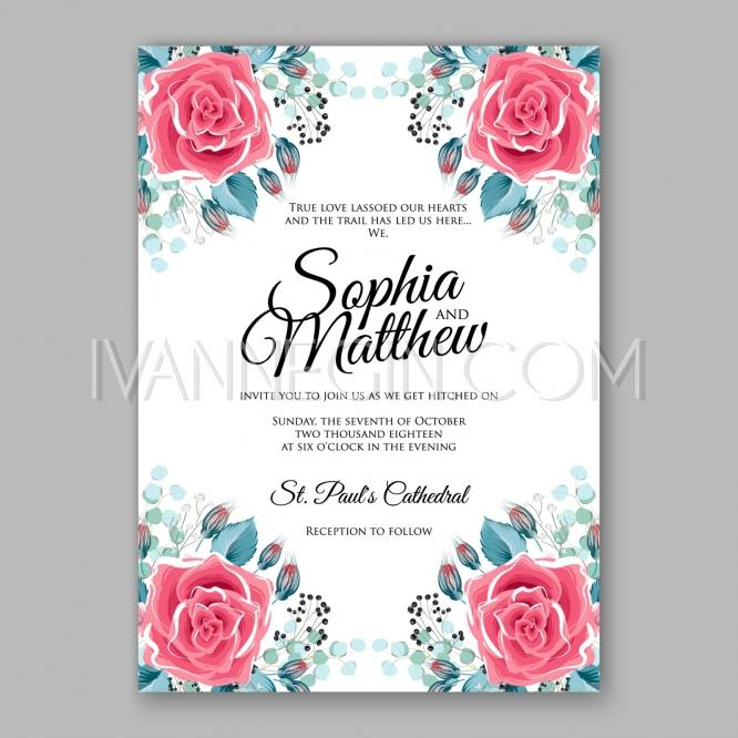 Red And Pink Wedding Invitations: Pink Red Rose Floral Wedding Invitation Printable With
