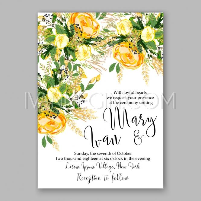 Wedding Invitation Card Template Yellow Rose Floral