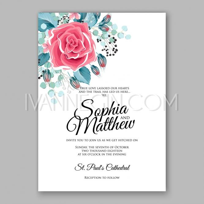 Pink Red Rose Floral Wedding Invitation Printable With Menthol Leaves  Bridal Shower Invitation Suite   Unique Vector Illustrations, Christmas  Cards, ...