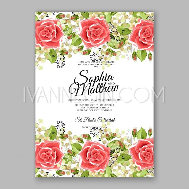Pink Red Rose Floral Wedding Invitation Printable Gold Bridal – Red Rose Wedding Invitation