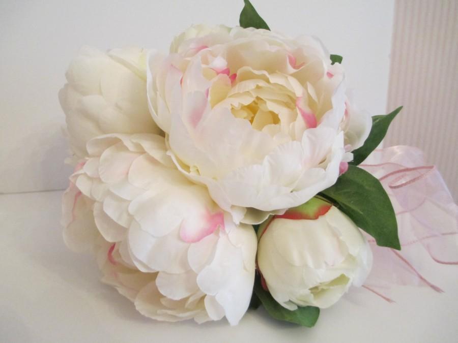 Свадьба - White  Peony Wedding Bouquet, Silk Peony Bridal Bouquet