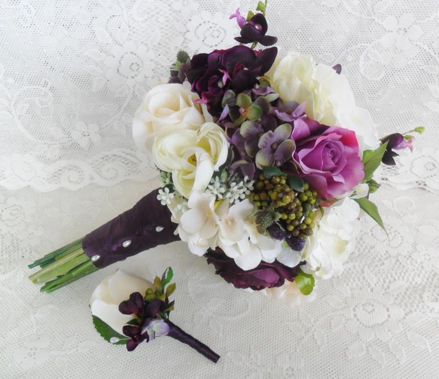 Wedding - Wedding Bouquet, Plum Purple Bridal Bouquet, Purple Wedding Flowers, Silk Wedding Flowers, Roses & Hydrangea Bouquet,Bouquet and Boutonniere