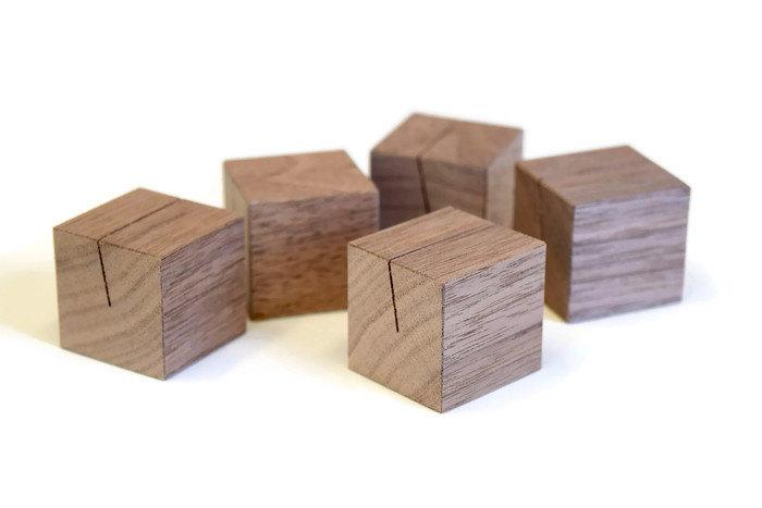 Свадьба - Walnut Wood Place Card Holders Set
