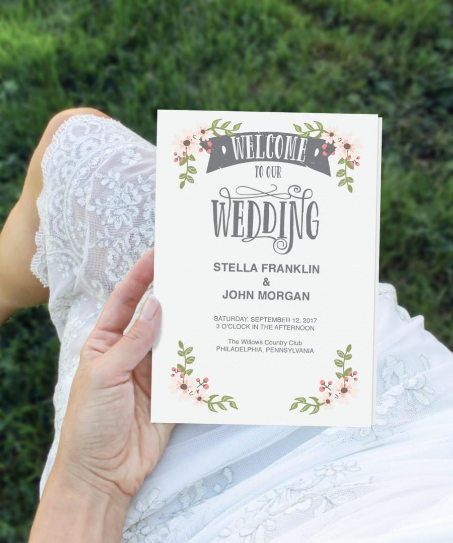 Свадьба - Folded Wedding Program Template - DIY Program - Wedding Program - Easy Editable Wedding Ceremony Program - DIY Program - Instant Download