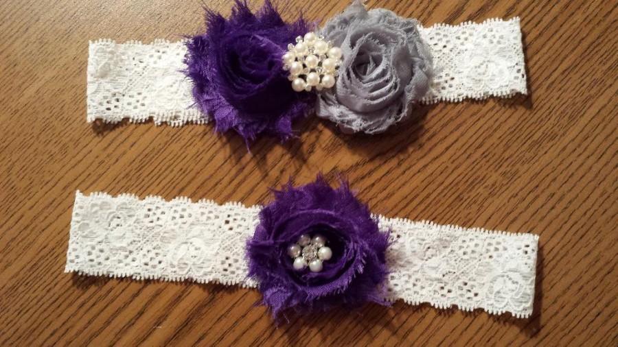 Wedding - Purple / Grey Wedding Garter -  Bridal Garter Set - Ivory Stretch Lace - Pearl Rhinestone embellishment.  .