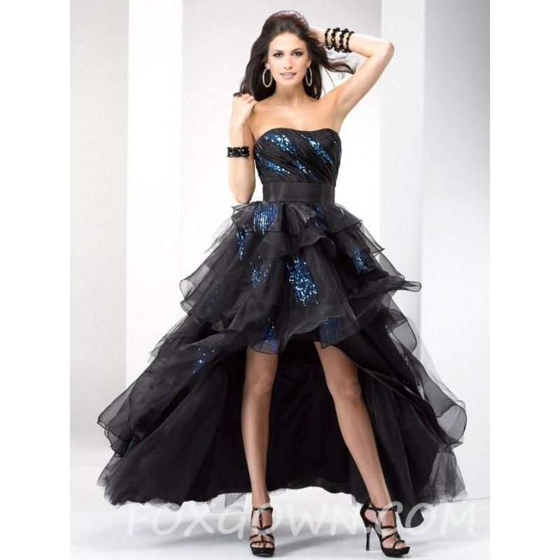 Wedding - High-Low schwarz Organza Prom Kleid mit Pailletten Akzente - Festliche Kleider