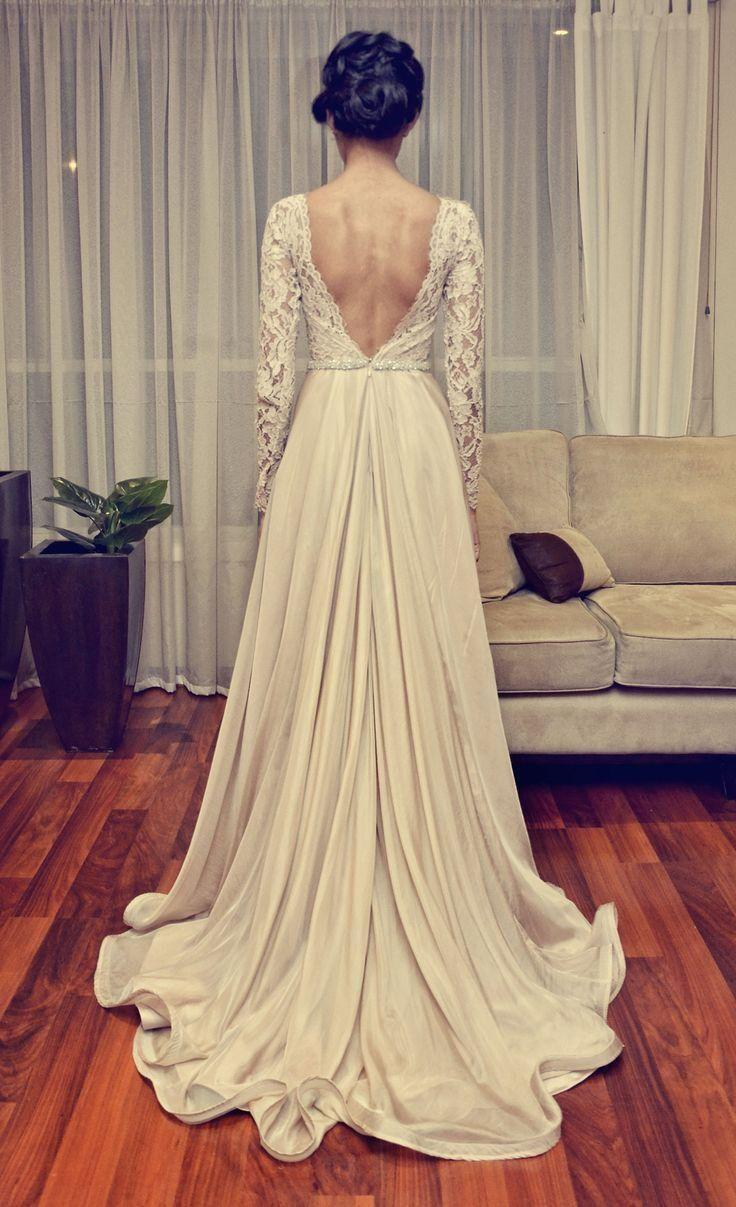 Wedding - Cheap Vintage Wedding Dresses 2015 With Long Sleeve V-Backless Open Back Floor-length Lace Waist With Beaded Bridal Dress Party Gowns SX230