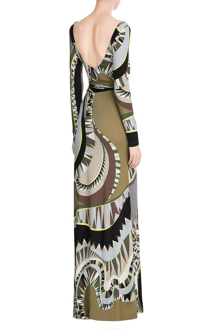 زفاف - Emilio Pucci Black & Khaki Printed Maxi Dress With Scarf