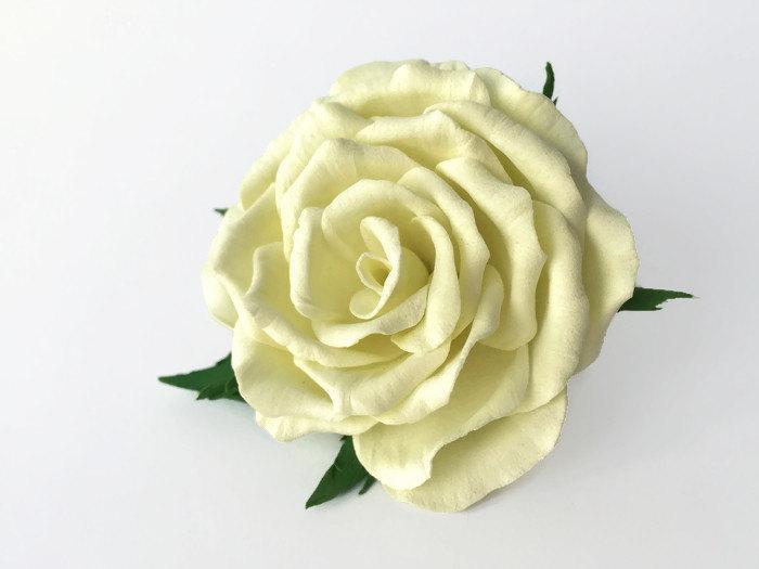 bridal rose hair flower hair clip and brooch hair clip rose bridal flower hair clip white brooch brooch rose ivory flower headpiece ivory