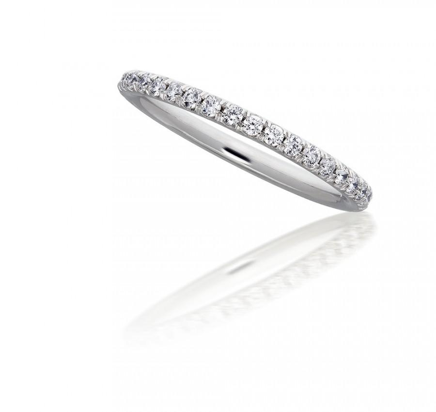 Micropave Diamond Eternity Band In 14kt White Gold 2mm 050ct Wedding Ring F G VS Stackable