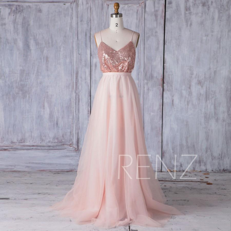 2017 Rose Gold Sequin Bridesmaid Dress A Line Mesh Wedding V Neck Spaghetti Straps Ball Gown Y Backless Prom Full Hq400