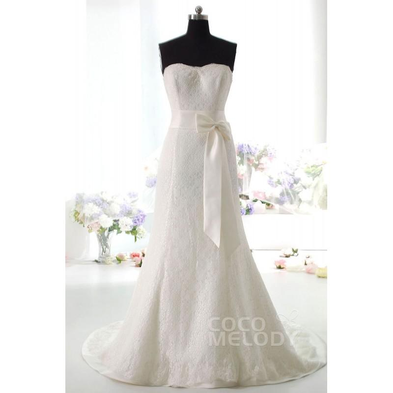 Wedding - Impressive Sheath-Column Sweetheart Natural Train Lace Ivory Sleeveless Lace Up-Corset Wedding Dress with Ribbons HS9671 - Top Designer Wedding Online-Shop
