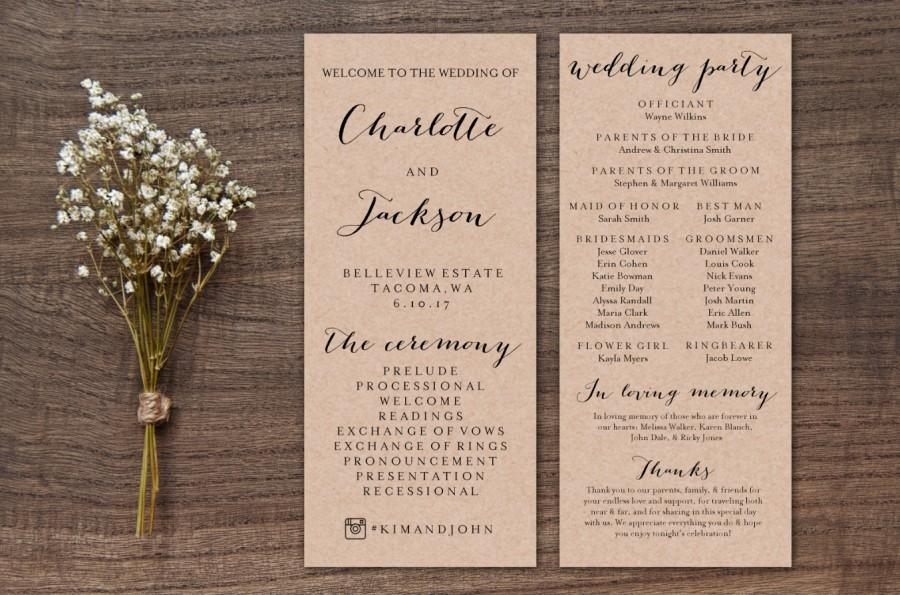 Hochzeit - Wedding Program Template Print, Custom Printable Wedding Program, Printable Digital Ceremony Program, White or Kraft Paper Background