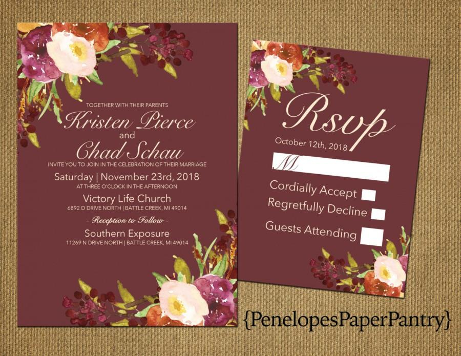 Hochzeit - Elegant Rustic Fall Wedding Invitation,Marsala,Plum and Ivory,Fall Wildflowers,Traditional,Simple,Opt RSVP,Customizable with White Envelope