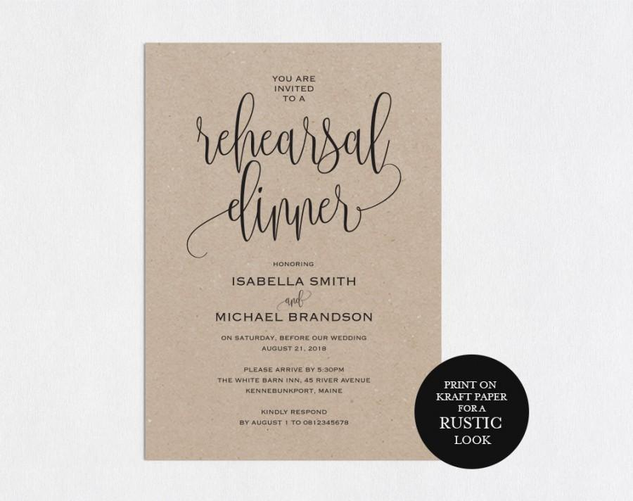 Rehearsal Dinner Invitation Template Rehearsal Printable Modern