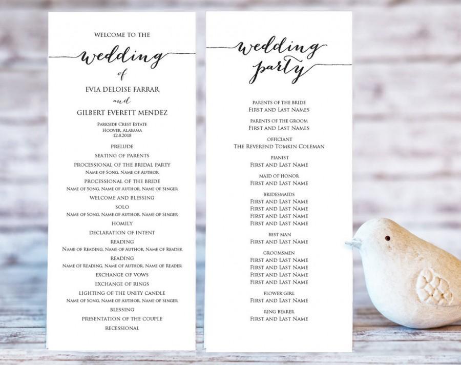 Hochzeit - Wedding Program Templates, Ceremony Program Template, DIY Wedding, Wedding Program Printable Template, Editable Program Template, #BT104